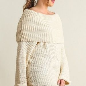 Umgee Chunky Off Shoulder Cowl Neck Sweater